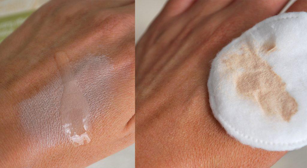 Фото запястья с bb кремом и после применения геля