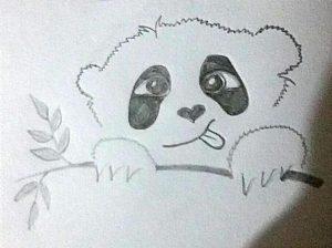 Панда показывает язык